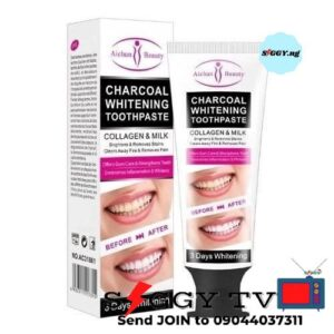 Use Aichun Beauty Charcoal Teeth Whitening Toothpaste with Collagen and Milk for 3 days active whitening. Order now in Nigeria!