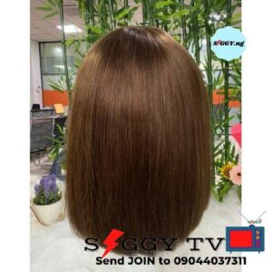Bob Wig With Fringe at a very affordable price. This Bob Wig is 100% glue free. The hair used is made from top quality fiber with healthy weft