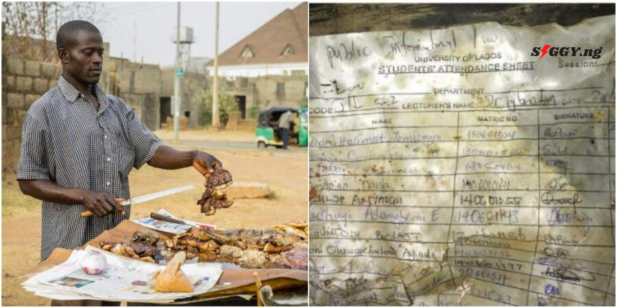 University of Lagos (UNILAG) began to trend online today after a photo showing the Public International Law attendance sheet used to sell suya went viral on the internet.